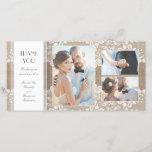 "Burlap and Lace Photo Wedding Thank You<br><div class=""desc"">Elegant burlap and vintage floral lace photo thank you cards</div>"