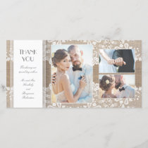 Burlap and Lace Photo Wedding Thank You