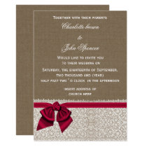 Burlap and Lace Pink Wedding Card