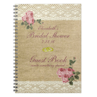 Burlap and Lace Print- Bridal Shower Guest Book- Note Book