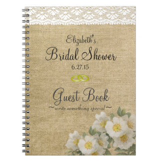 Burlap and Lace Print- Bridal Shower Guest Book- Spiral Notebook