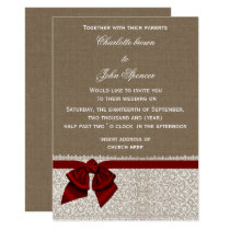 Burlap and Lace Red Wedding Card