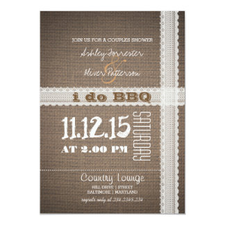Burlap and Lace Rustic Country I Do BBQ 5x7 Paper Invitation Card