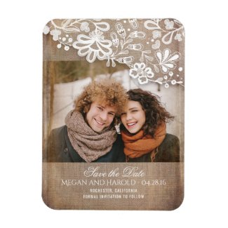 Burlap and Lace Rustic Photo Save the Date Magnet