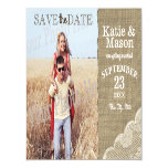 Burlap and Lace Rustic Photo Save the Date Magnetic Card