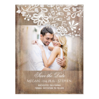 Burlap and Lace Rustic Photo Save The Date Postcard