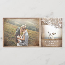 Burlap and Lace Rustic Vintage Wedding Thank You Card