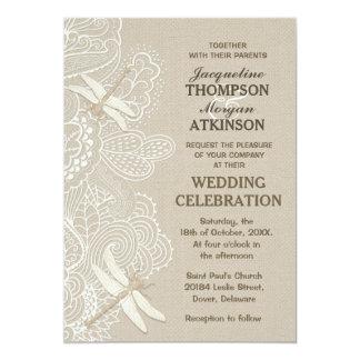 "Burlap and Lace Rustic Wedding Invitation 5"" X 7"" Invitation Card"