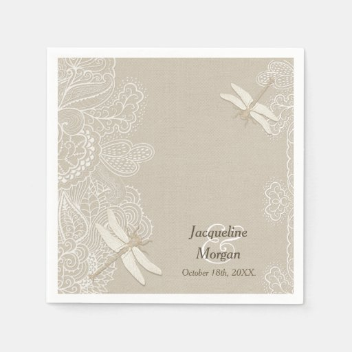 Rustic Wedding Napkins: Burlap And Lace Rustic Wedding Napkins