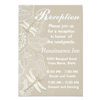Burlap and Lace Rustic Wedding Reception Card