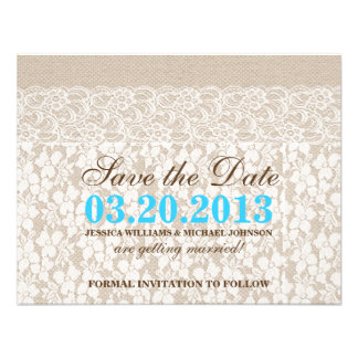 Burlap and Lace | Save the Date Custom Invitation