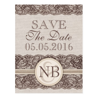 Burlap and lace Save The Date postacards Rustic Postcard