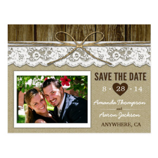 Burlap and Lace Save the Date Wedding Postcards