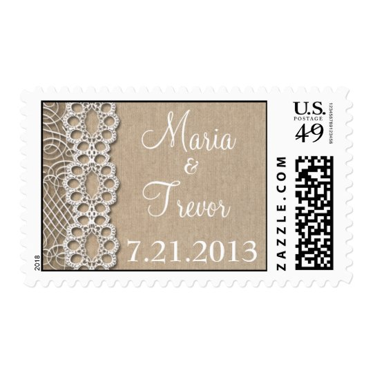 Burlap and Lace  Save the Date Wedding Stamp