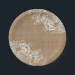 "Burlap and Lace Shabby Chic Paper Plates<br><div class=""desc"">Burlap and Lace Shabby Chic Paper Plates</div>"