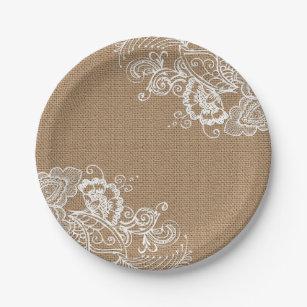 Burlap and Lace Shabby Chic Paper Plates  sc 1 st  Zazzle & Burlap Plates   Zazzle