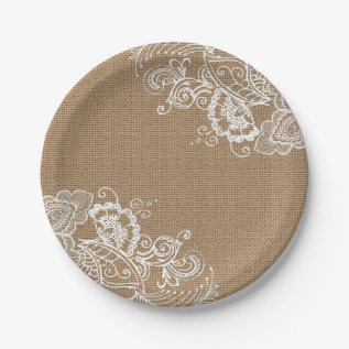 Burlap And Lace Shabby Chic Paper Plates at Zazzle