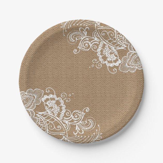 sc 1 st  Zazzle & Burlap and Lace Shabby Chic Paper Plates   Zazzle.com