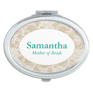 Burlap and Lace, Teal Personalized Mother of Bride Mirror For Makeup