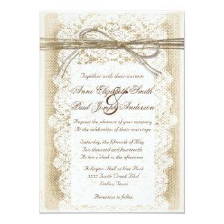 Burlap and Lace twine bow Wedding Invitation Invitation