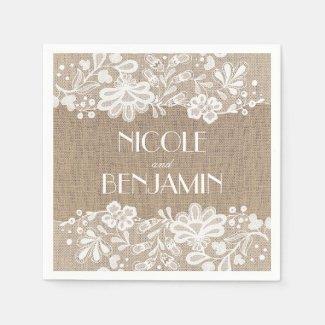 Burlap and Lace Vintage Elegant Wedding Paper Napkin