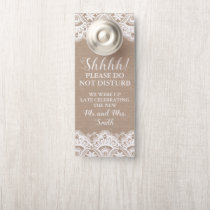 Burlap and Lace Wedding Door Hangers, Rustic Door Hanger
