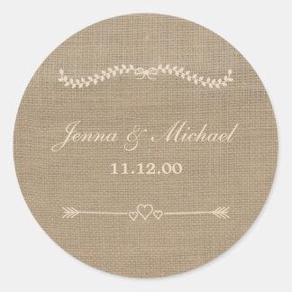 Burlap and Lace wedding envelope round seal