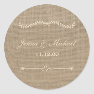 Burlap and Lace wedding envelope round seal Classic Round Sticker