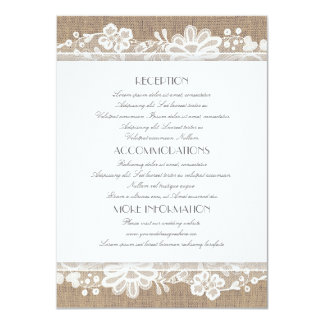 Burlap and Lace Wedding Information Card