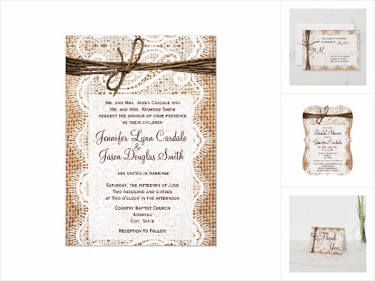 Burlap and Lace Wedding Invitation Set