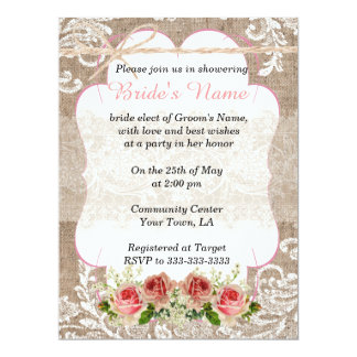 Burlap and Lace Wedding Shower Card