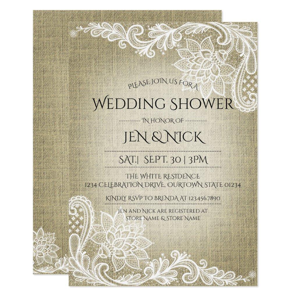 Burlap and Lace Wedding Shower Invitation