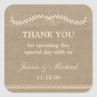 Burlap and Lace wedding thank you favor sticker