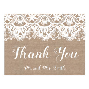 Burlap And Lace Wedding Thank You Postcards Rustic