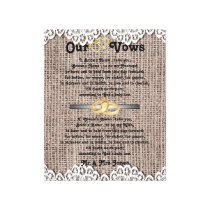 Burlap and lace Wedding Vows Canvas Print