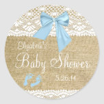 Burlap and Lace with Blue Bow Baby Shower-Favor Classic Round Sticker