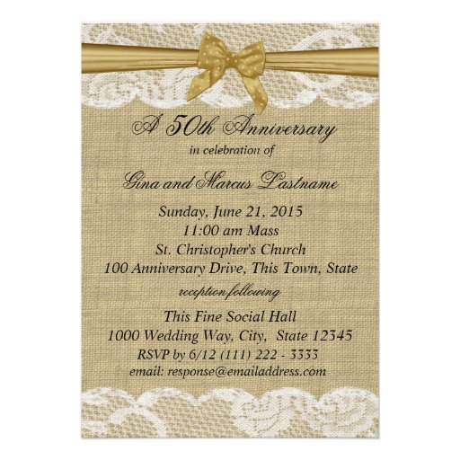 Burlap and Lace with Gold Bow 50th Anniversary Personalized Invites