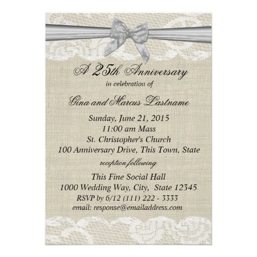 Burlap and Lace with Silver Bow 25th Anniversary Invitations