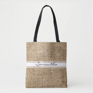 Burlap and Lacey Ribbon Design Tote Bag