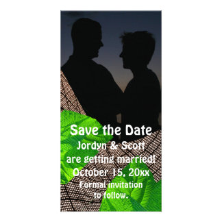 Burlap and Leaf Abstract Save the Date Card