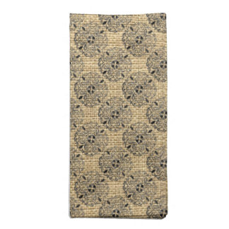 Burlap and Mandalas Round Motif Design Brown Black Napkin