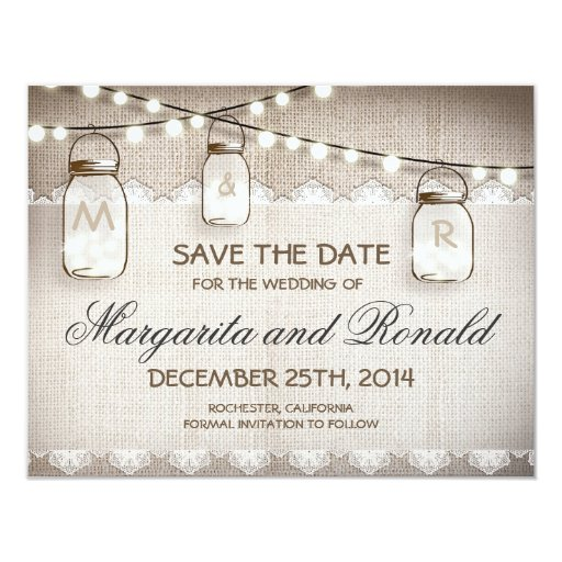burlap and mason jar save the date cards 4.25