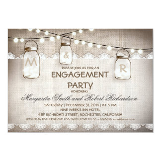burlap and mason jars engagement party invitations - Engagement Party Invite