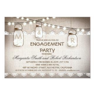 burlap and mason jars engagement party invitations