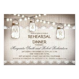 burlap and mason jars rehearsal dinner invitations