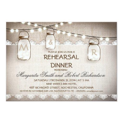burlap and mason jars rehearsal dinner invitations zazzle