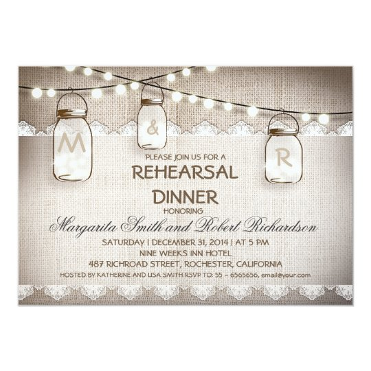 burlap and mason jars rehearsal dinner invitations Zazzlecom