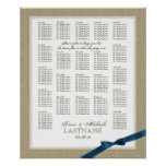 Burlap and Navy Blue Bow Wedding Seating Chart Poster