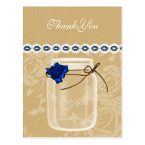 burlap and navy blue rose mason jar thank you postcard