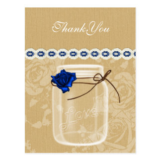 burlap and navy blue rose mason jar thank you post cards